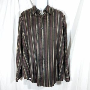 Men's Tasso Elba Striped Button Up Shirt EUC